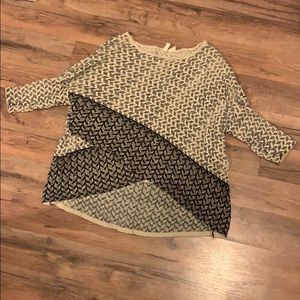 Moth Criss Cross Beaded Pullover Sweater
